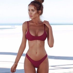 Other - Sexy Thong Bikini Two Piece Low Cut Cranberry